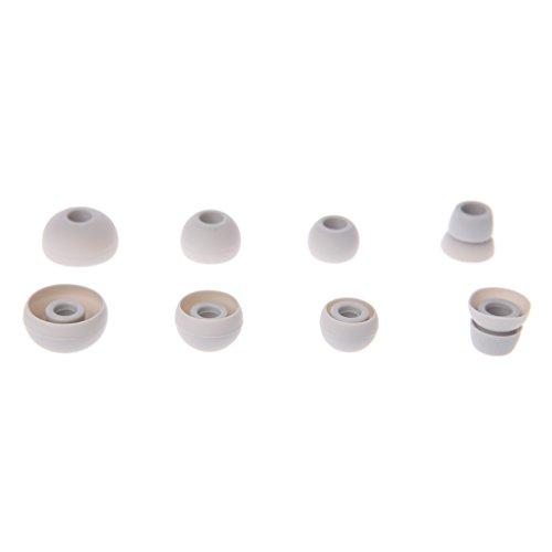 Autone 4Paar Silikon Ohrhörer Tipps ersetzen für Beats Powerbeats 2/3Wireless Kopfhörer, 3Paar X Kopfhörer Ohrstöpsel + 1Paar X Doppel Flansch Ohr Spitze, Grau (Grau Beats Wireless)
