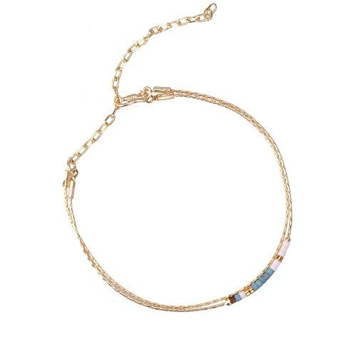 KELITCH Armband Gold Gefüllt Verfeinerung Kette Link Fein Doppelt Einstellbar Armbänder mit Weiß Blau Rocailles Perlen (Gold Gefüllt Kette)