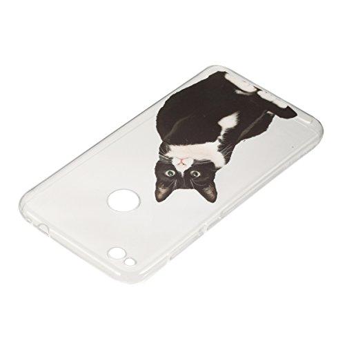 Coque Huawei P8 Lite 2017,Coque en Soft Silicone TPU Transparente pour Huawei Honor 8 Lite,Ekakashop Ultra Slim-fit Jolie Fille Robe Blanc Dessin Antidérapant Coque de Protection TPU Flexible Souple C Chat Noir