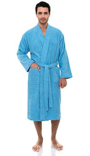 TowelSelections Herren Bademantel, türkische Baumwolle, Frottee, Kimono, hergestellt in der Türkei - Blau - Medium/Large - Plaid Flanell Snap