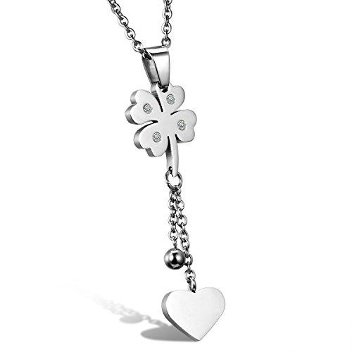 JewelryWe Gioielli collana acciaio inossidabile amore cuore Four Leaf Clover pendente collana 18