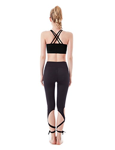 Jimmy Design Leggings da donna per fitness, yoga, danza, con lacci Black