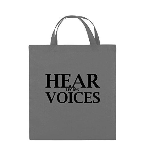Comedy Bags - HEAR VOICES - LEGION - Jutebeutel - kurze Henkel - 38x42cm - Farbe: Schwarz / Silber Dunkelgrau / Schwarz