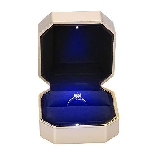 Fall 1 Licht Anhänger (Rotekt Ring Anhänger Halskette Box Hochzeit Fall Schmuck Geschenk w/LED-Licht für Vorschlag (01))