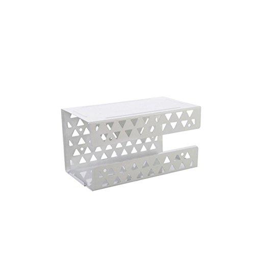 MMZHM Wand-Handtuchhalter-Schmiedeeisen-perforiertes Tissue-Kasten-Papier-Halter-Servietten-Sauger-Lagerregal 19 * 10.5 * 10.3Cm, weiß (Schmiedeeisen Wc-papier)