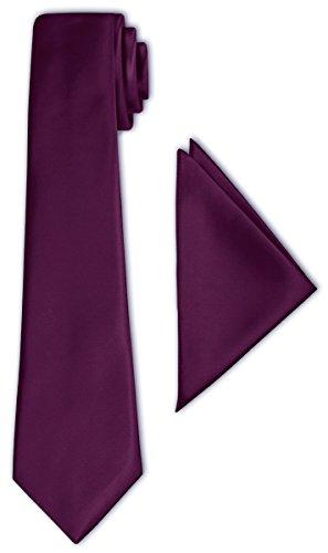 CRIXUS Krawatte klassisch Aubergine Lila Violett Satin-Krawatte mit oder ohne Einstecktuch ( Tuch Maß 26 x 26 cm ) einfarbig (mit Einstecktuch)