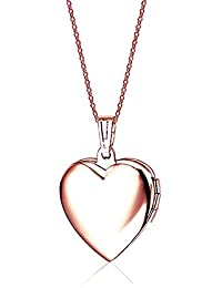 Guardapelos Belons de acero al titanio con forma de corazón color oro rosa, con cadena de 50cm y pendiente relleno con resina azul