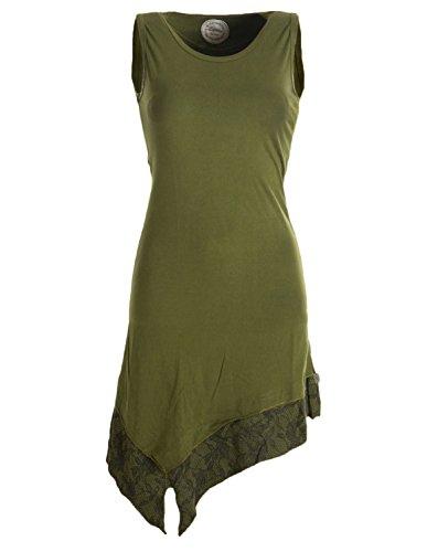 Vishes - Alternative Bekleidung - Asymmetrische Elfentunika aus Baumwolle - zweifarbig Olivegrün - Hippie Ärmelloses Kostüm