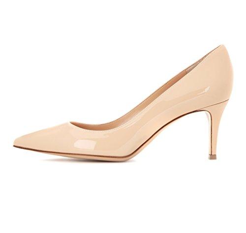 EDEFS - Escarpins Femme - 6 cm Kitten-Heel Chaussures - Bout Pointu Fermé - Classique Bureau Soiree Shoes Nude