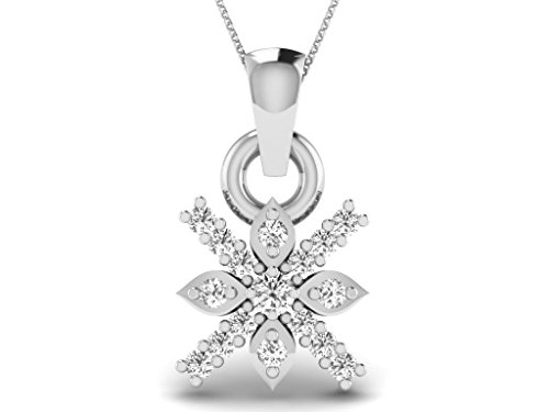Or Blanc 9 ct Pendentifs Diamant en forme de Fleur, 0.09 Ct Diamant, GH-SI, 0.5 grammes.