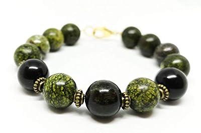 CRÉATIVITÉ | Bracelet pierre de sang de dragon, serpentine, obsidienne 12mm | qualité supérieur