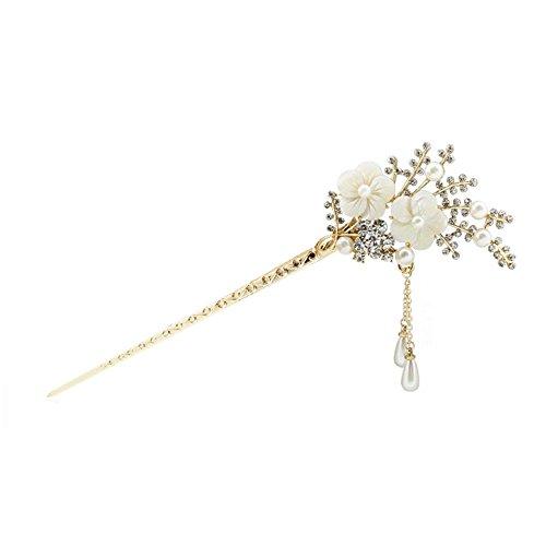 Contever® Blumen Design Haar Haken mit Quaste Simulierte Perlen Rhinestone Korn Haar Pin Stick - Weiß (Cover Strass-bun)