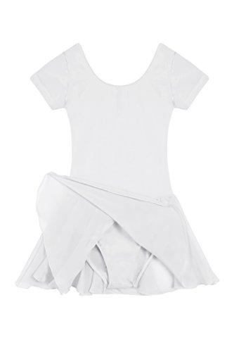 Qenci Kinder Mädchen Klassisches Ballerina Kleid Kinderkostüm Tutu Ballettkleid Trikot Kleid Kurzarm Rosa Schwarz Weiß Lila Blau Gr. ()