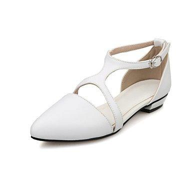 LFNLYX Donna tacchi Primavera Estate Autunno Comfort cinturino alla caviglia PU Office & Carriera Athletic Casual tacco basso nero fibbia Rosa Bianco a piedi White