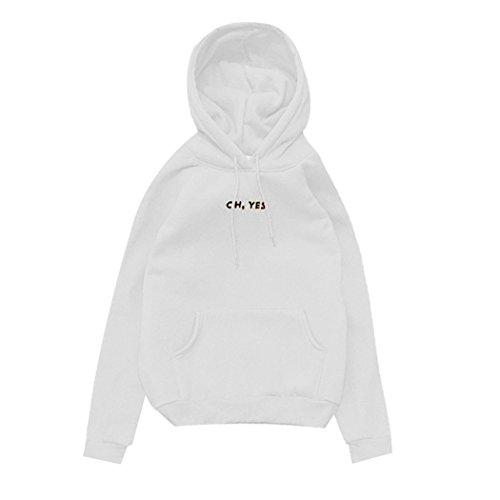 Femme Sweat-Shirt à Capuche ''OH, YES.'' Imprimée Hoodie à Manches Longues Epais Chaud Pullover avec Poche Décontractée Autumne Hiver Manteau Blanc