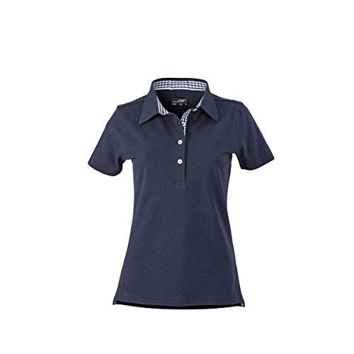 JAMES & NICHOLSON Damen Poloshirt, Einfarbig bleu marine (inserts marine/blanc)