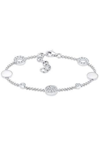Elli Damen Armband Kreis Plättchen Swarovski Kristalle in 925 Sterling Silber - 16cm Länge