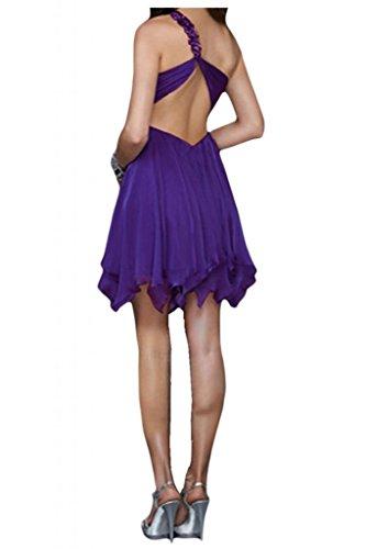 Toscane mariée doux une épaule longueur genoux abendkleider partykleider forme courte en mousseline de cocktail Dunkel Gruen