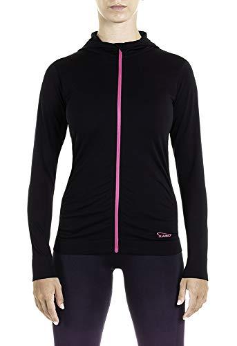 XAED Damen Fitness Sportshirt mit Reißverschluss und Kapuze, Schwarz/Fuchsia, X-Large