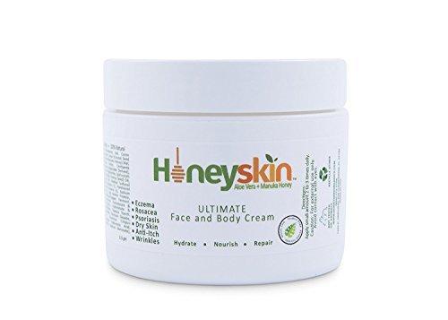 Ultimate Organic Moisturizer Cream (2 oz) Face & Body, Manuka Honey, Aloe Vera, Anti-Aging, Dry Skin Repair Lotion, Eczema, Psoriasis, Rashes, Rosacea, Wrinkles, 100% Money Back Guarantee by Honeyskin (Eye Fix)