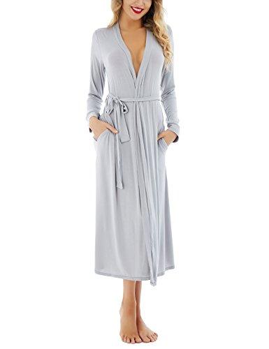 Dromild Albornoz Suave para Mujer Albornoz Modal Kimono Largo para Dormir Ropa de Dormir S-XXL