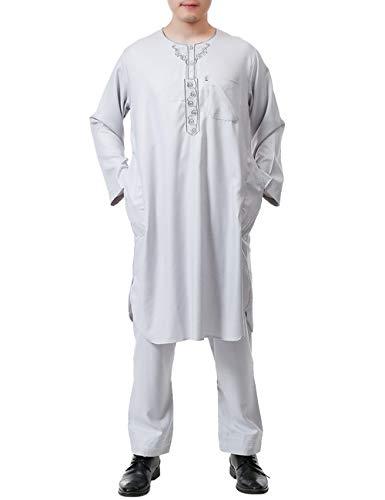 besbomig Hombres Musulmanes árabe Thobe Medio Este Túnica con Pantalones - Casual Abaya Dubai Algodón y Lino Dos Piezas Trajes