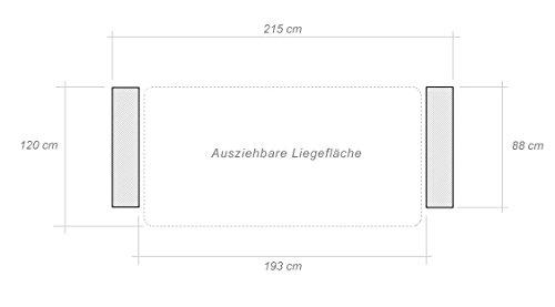 3er Sofa Aurea in blau mit Staukasten und Bettfunktion - Abmessungen: 215 x 88 cm (B x T) - 2