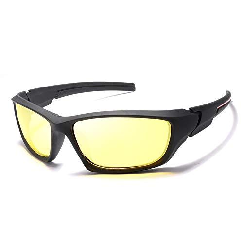 Easy Go Shopping Herren Outdoor Reitbrille Windschutzscheiben Sonnenbrille Sport Herren Polarisierte Sonnenbrille Sonnenbrillen und Flacher Spiegel (Color : Gelb, Size : Kostenlos)