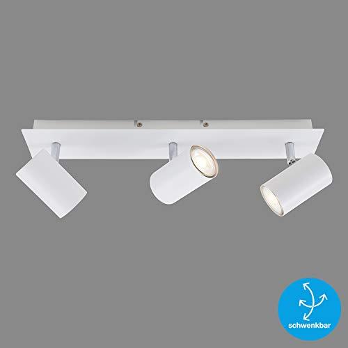 Briloner Leuchten Deckenspot, schwenkbar, Deckenlampe, Deckenleuchte 3-flammig, GU10, max. 40 Watt, Weiß, Metall, W