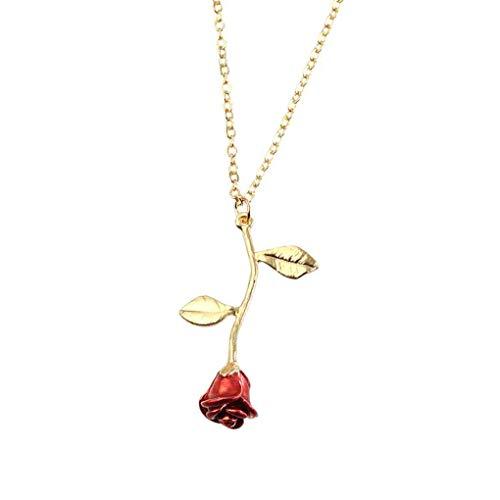 Nowear Frauen-Mädchen-rote Rosen-Halskette-Legierung überzogene Hals Anhänger Schmuck Accessoires Valentine -