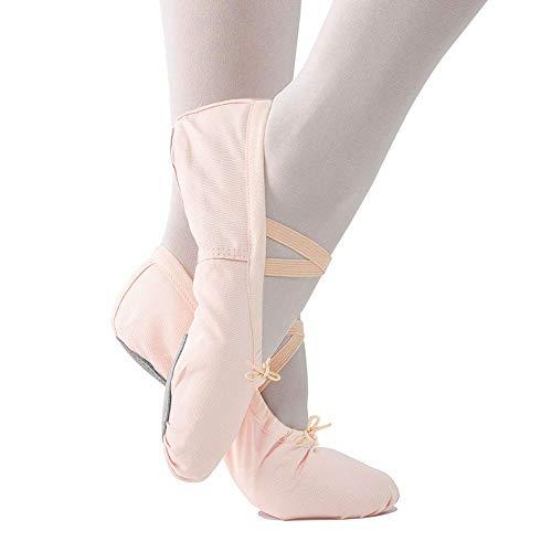 Imixcity scarpette da ballerina scarpe da ballo mocassini danza classica scarpe per balletto ginnastica yoga (31 eu, (tela) albicocca-rosa)