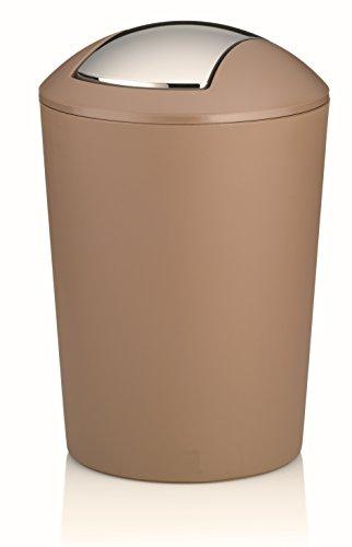 Schwingdeckeleimer Kosmetikeimer Abfalleimer Mülleimer braun Design ABUNDIUS 5 Liter