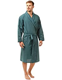 c0bee040d2 Haigman Mens Nightwear Poplin Poly Cotton Plain Dressing Gown Wrap Robe  Lightweight