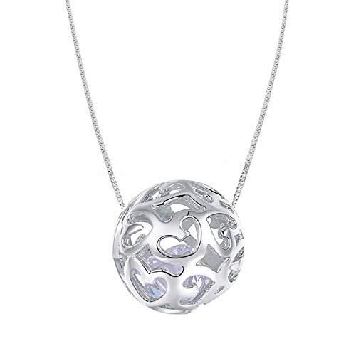 S925Sterling Silber Halsketten für Frauen mit Anhänger Schnitt Perlen Kugel Kette Halskette Charm Schmuck