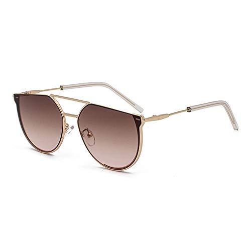WULE-Sunglasses Unisex Persönlichkeit Halbkreis Sonnenbrille Damenmode Metall Retro Brille Herren Braun Verlaufsglas Goldrahmen UV400 Schutz