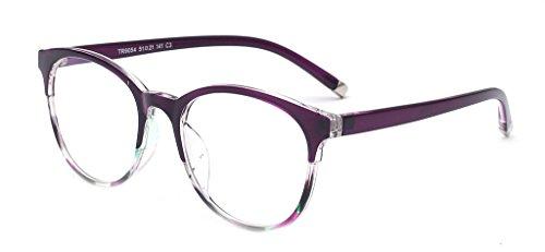ALWAYSUV klar Linsen Klassische Brille Retro Brillen Fashion Glasses Lila Brillenfassung