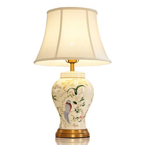 Amerikanische Tischlampe Schlafzimmer Nachttischlampe Keramik Licht Luxus Alten Brennofen Im Chinesischen Stil Wohnzimmer Einfache Vase Dekoration Kupfer Lampe (Size : L)