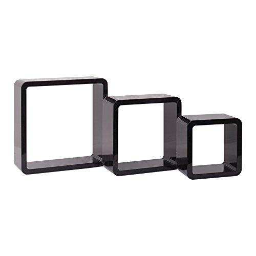 Mobili Rebecca® Serie de 3 Cube Etageres Murale Design Contemporain Bois Blanc Noir Salon Rangement Livres Cd (Cod. RE4875)