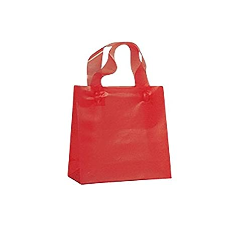 FROSTED PLASTIC BAGS WITH SOFT HANDLES - PACK OF 50 RED-FROSTED BAGS-16 X 6 X 19