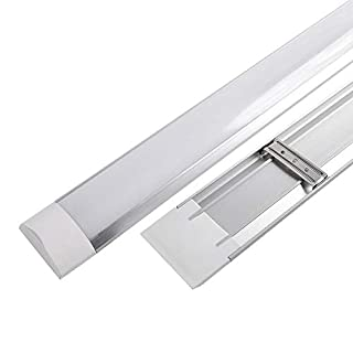 2x Bright 4FT 36w LED Batten Tube Linear Light Slim Ceiling Surface Mounted Daylight Wide 1200mm 120cm Low Energy Saving Bedroom Office Utility Strip Fitting 6000k