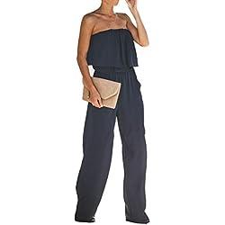 Longwu Femmes Sexy sans Bretelles Ébouriffer Poitrine enveloppée Épaules dénudées Maxi Combinaison Large Jambe avec des Poches Bleu foncé-M