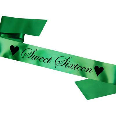 Sweet Sixteen Birthday Sash: 16th Party Gift 16 Sixteenth - SB1002 - Green