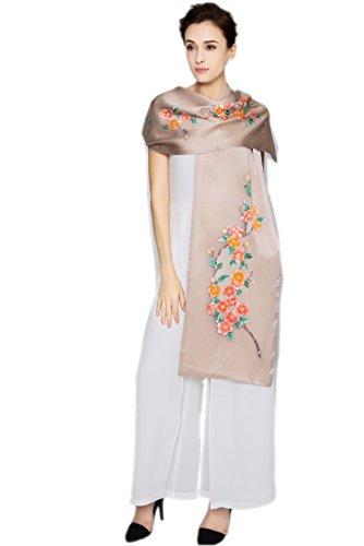Prettystern - donna seta sciarpa fiori orientali dipinto a mano a due strati lunghe stola di sera della - taupe beige