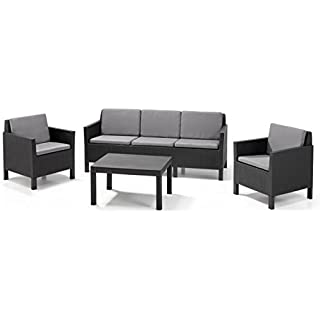 Allibert Lounge-Set Chicago mit 3-Sitzer 4tlg, graphit/cool grey