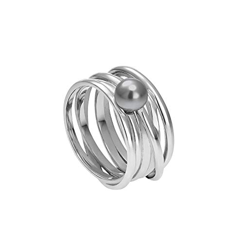 Heideman Ring Damen Serpens aus Edelstahl Silber farbend poliert Damenring für Frauen mit Swarovski Perle Weiss grau oder schwarz rund 6mm Perlring Black Gr.60 hr24268-3-16-60