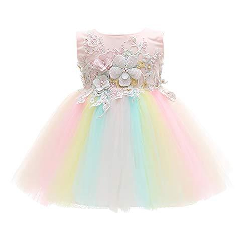 chen Taufe Geburtstag Kleid - Säugling Vollmond Brautjungfer Regenbogen Prinzessin Spitzen-Tutu Ostern Abendgesellschaft Hochzeitskleid 24M(18-24Monat) ()