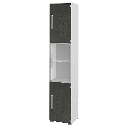 Büroschrank mit Glastür - Weiß Grau
