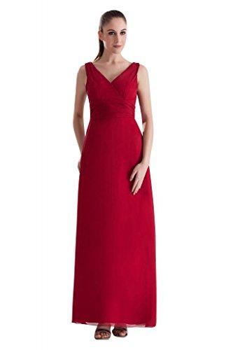 GEORGE BRIDE Wunderschoene V-Ausschnitt Lange rote formale Abendkleid Rot