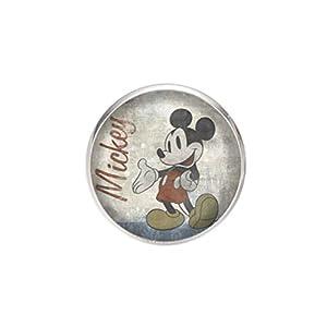 Edelstahl Brosche, Durchmesser 25mm, Stift 0,7mm, handgemachte Illustration Mickey Mouse Vintage