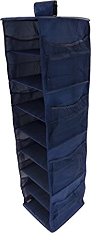 Neusu Rangement De Penderie Renforcé Avec Etagères Suspendues - 8 Etagères Plus 8 Poches Latérales - Tissu Bleu 600D- 30 cm x 30 cm x 125 cm (Capacité De Plus De 100 Litres) - Bleu